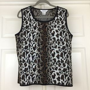 Misook sleeveless tank top leopard animal print